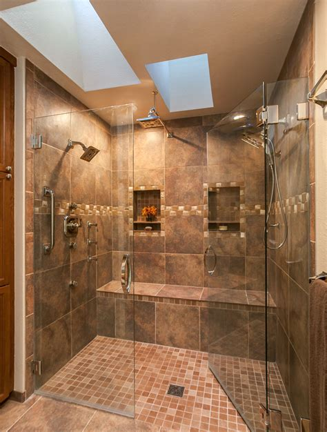 Kitchen Floor Porcelain Tile Ideas by Amazing Shower In This Master Bath Renovation In Denver