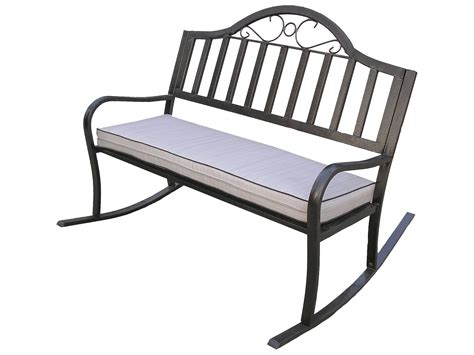 wrought iron bench with cushion oakland living rochester wrought iron rocking bench with