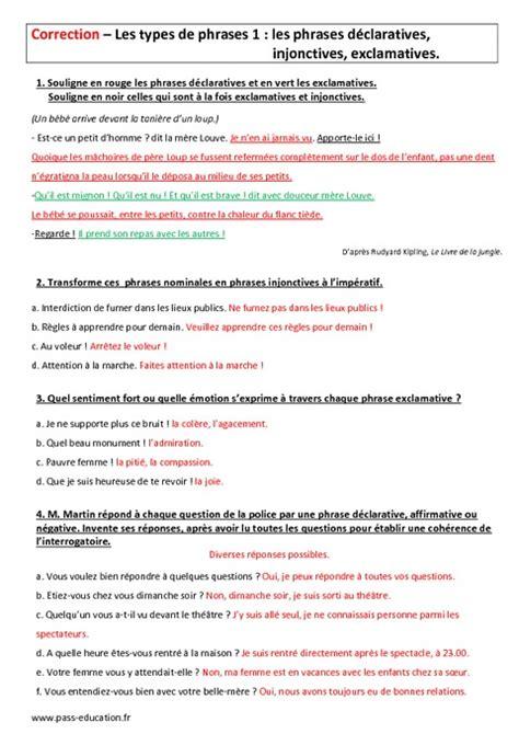 Correction Type types de phrases 6 232 me evaluation sur les phrases
