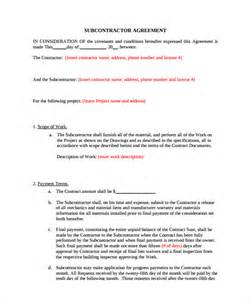 Contract For Subcontractors Template by Subcontractor Contract Template 10 Documents