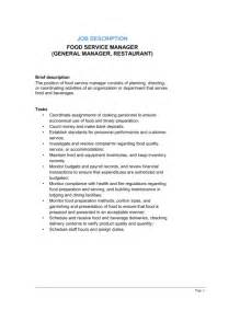 Restaurant Manager Description by Food Service Manager General Manager Restaurant Description Template Sle Form