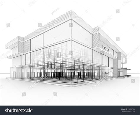 blueprint design modern office building architects stock illustration 116957386