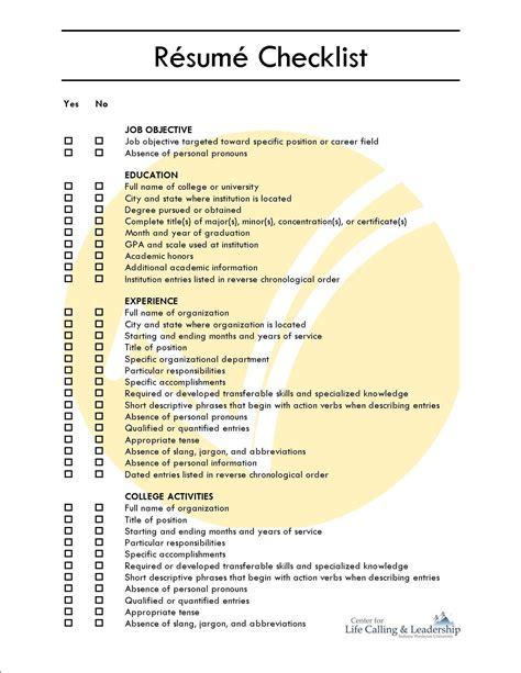 Resume Checklist by Comprehensive Resume Checklist Sle Comprehensive