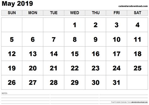 Calendar 2019 May May 2019 Calendar