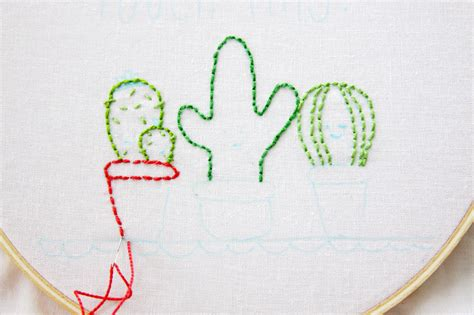 embroidery easy easy and cactus embroidery hoop