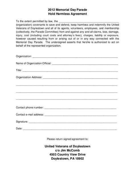 Hold Harmless Agreement Template Template Business Hold Harmless Form Template