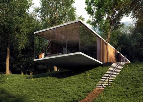 houses built on slopes a room glass house design with perfect balance built on a