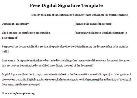 free digital signature template of free digital
