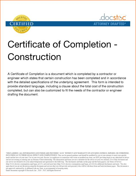 Certificate Of Completion Construction Bamboodownunder - Arsip.tembi.net