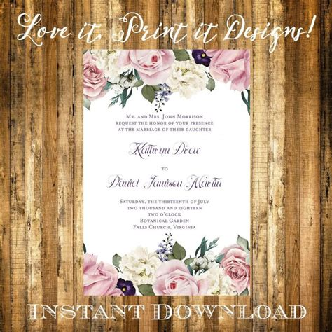 wedding invitation or bridal shower diy template vintage