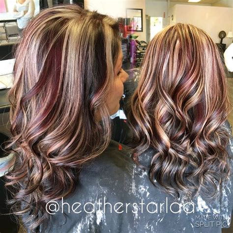 short brown hair with chunky blond short chunky layered reddish copper brown hair with red