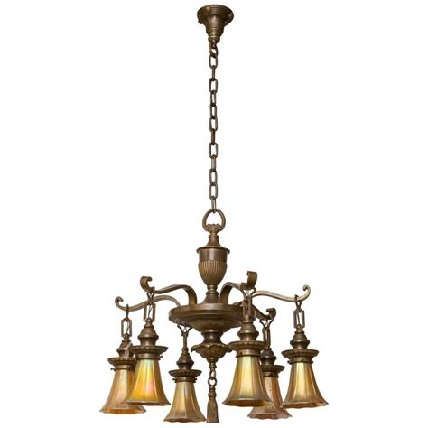 Edwardian Chandelier Six Arm Bronze Edwardian Chandelier With Glass Shades For Sale At 1stdibs