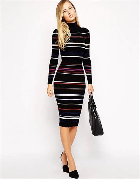Striped Midi Knit Dress millen millen knitted midi dress in stripe
