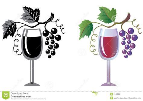 clipart vino bicchiere di vino e vigna illustrazione vettoriale