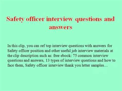 safety officer or ehs questions and answers