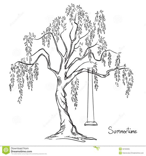 swing illustration tree with a swing stock vector image 50195305