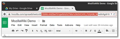 Spreadsheet Url by Help Widget Document Mozillawiki