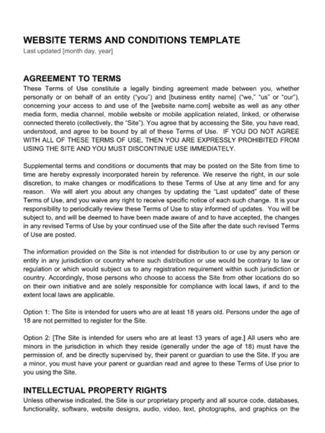 website terms and conditions template terms and conditions hub exles templates articles termly