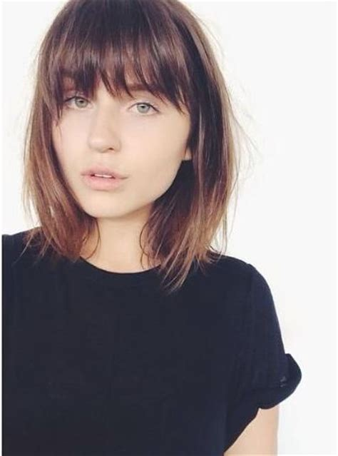 short brunette hairstyles bangs brown medium length hair with bangs hair world magazine