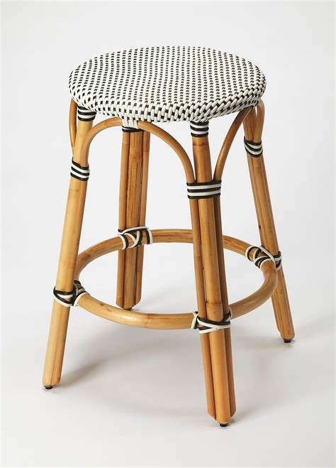 White Wicker Counter Stools by Blue White Stripe Rattan Backless Bar Counter Stool