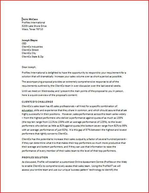 executive summary cover letter sle business letter