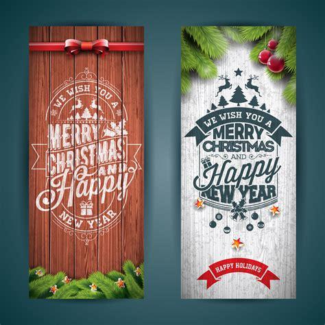 vector merry christmas banner illustration  typography