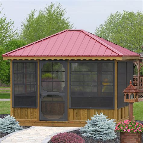 garden gazebo kits pine rectangle outdoor garden or patio screened gazebo kit