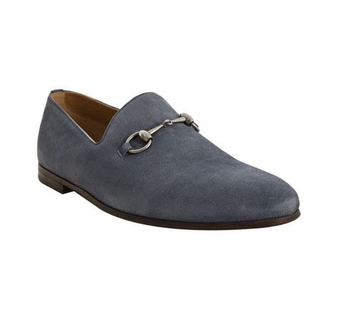 gucci slip on loafers gucci light blue suede horsebit slip on loafers in blue