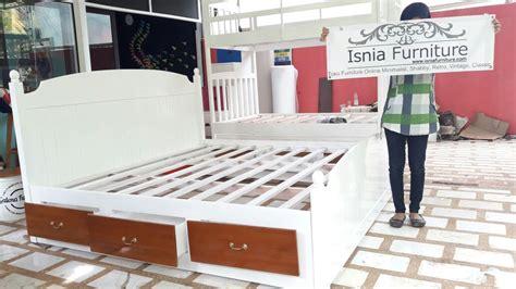 Tempat Tidur Kayu Laci jual tempat tidur laci model terbaru kayu jati desain pas