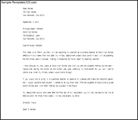 Request Letter Principal Resignation Letter To Principal Sle Free Sle Templates