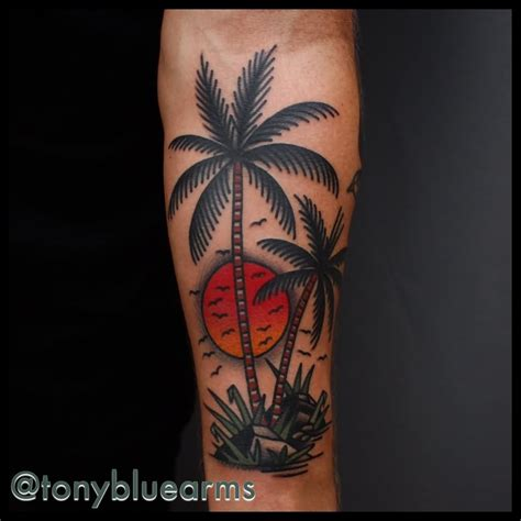 palm tree sunset tattoo designs 24 traditional palm tree on sleeve