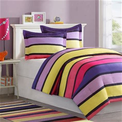 amazon com girl purple pink yellow stripe twin comforter