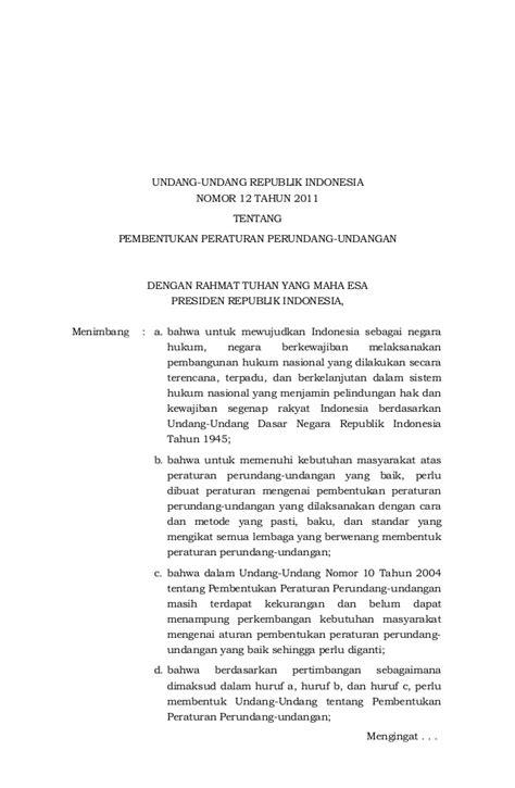 Uuri 12 Thn 2011 Pembentukan Peraturan Perundang Undangan uu no 12 tahun 2011