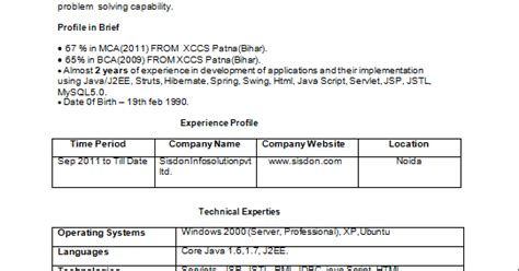 Resume Sles For 2 Years Experienced Java J2ee 2 Years Experience Resume