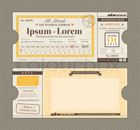 ticket style invitation template vector bahnfahrkarte einladung design template stock