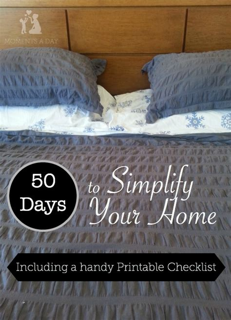 simplify your home 50 days to simplify your home printable checklist