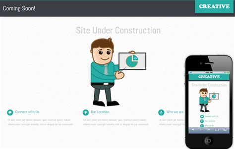 templates for website under construction creative under construction mobile website template by