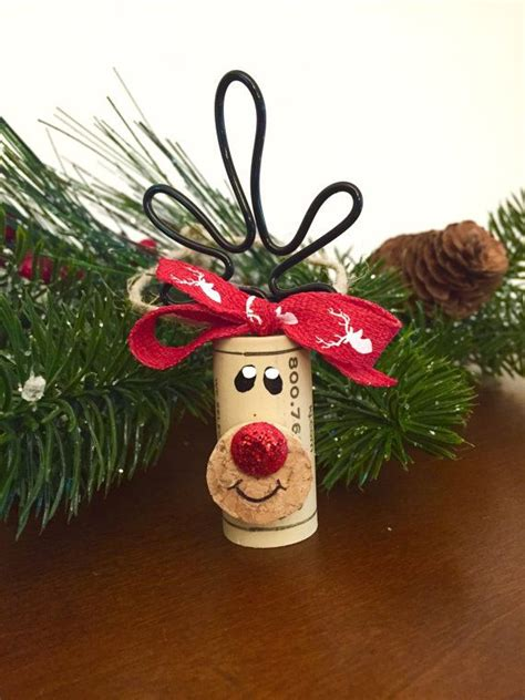 set of 4 adorable wine cork reindeer ornaments these can