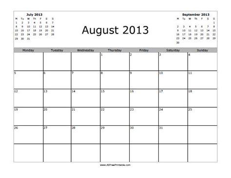 Calendar August 2013 August 2013 Calendar Free Printable Myfreeprintable
