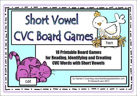 printable short vowel board games fun games 4 learning april 2014