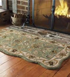 Green Wool Area Rugs Fire Resistant Scalloped Wool Hearth Fireproof Rug
