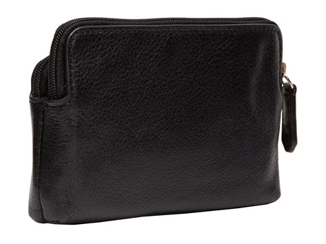 Coach Wristlet 2zip Black lyst coach zip wristlet in leather in black