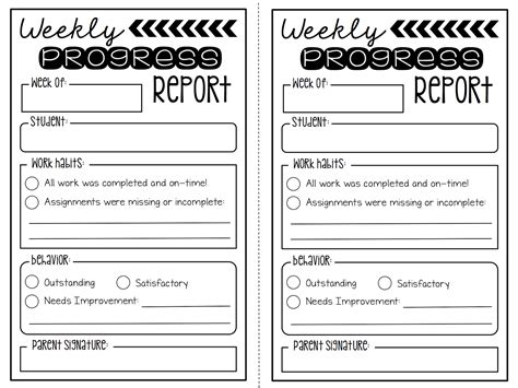 Summertime Rev 2 Weekly Progress Reports Freebie Create Teach Share Weekly Behavior Report Template