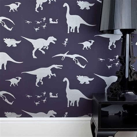 dinosaur wallpaper for bedroom dya think e saurus dinosaur wallpaper by paperboy wallpaper notonthehighstreet com