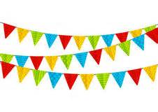 Collection of colorful party bunting flags border isolated on white