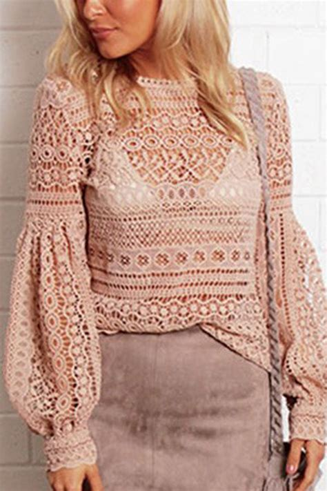 pink crochet lace puff sleeve sexy top  womens shirts