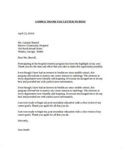 Thank You Letter To Boss Sample Sample Thank You Letter To Boss 22 Free Documents