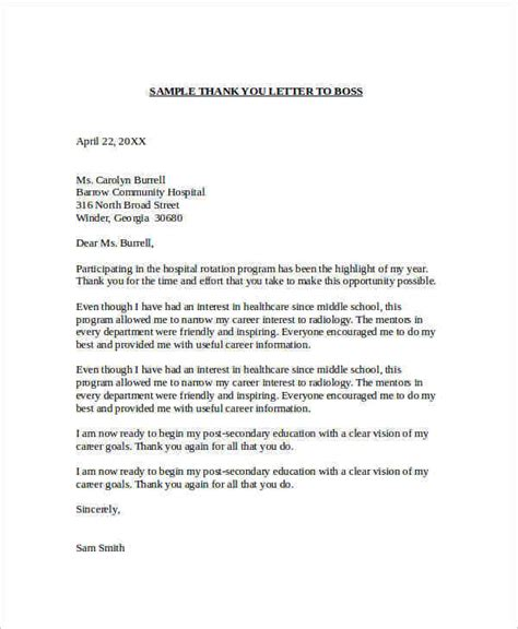 Thank You Letter Template To Employee Sle Thank You Letter To 22 Free Documents In Word