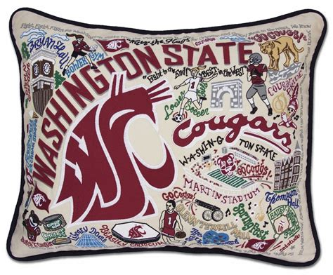 washington state embroidered pillow by catstudio