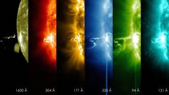 solar flare lights moments of a solar flare in different wavelengths of